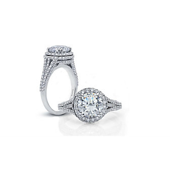 Peter Storm 18K White Gold Double Halo Diamond Ring Mounting