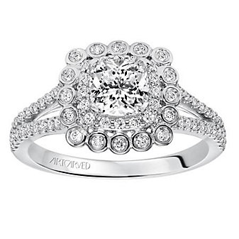 ArtCarved 14K White Gold Ciana Diamond Ring Mounting