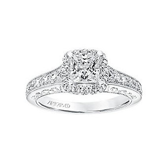 ArtCarved 14K White Gold & Round Diamond Halo Octavia Ring Mounting