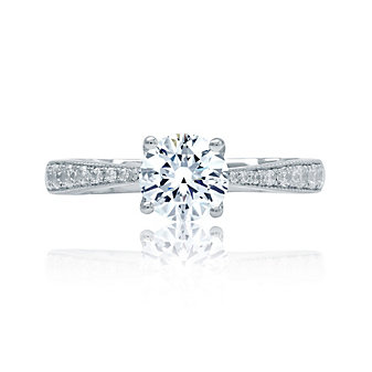 A. Jaffe 18K White Gold Tapered Diamond Shank Engagement Ring Mounting