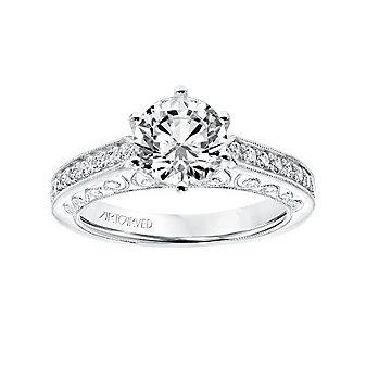 ArtCarved 14K White Gold Cossette Diamond Ring Mounting