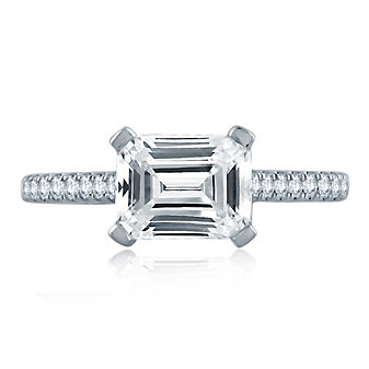 A. Jaffe 14K White Gold Diamond Ring Mounting with Horizontal Set Center