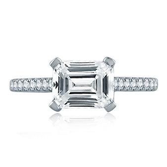 A. Jaffe 14K White Gold Diamond Ring Mounting with Horizontal Set Center