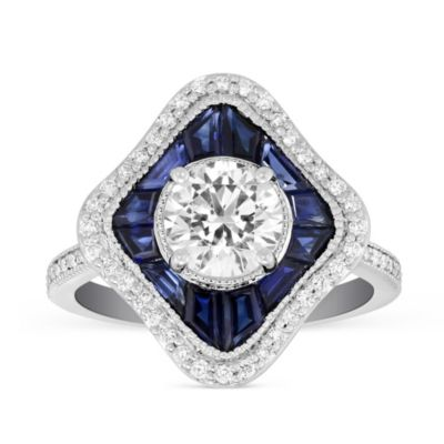 Peter Storm 18K White Gold Round Diamond and Caliber Cut Sapphire Round Ring Mounting