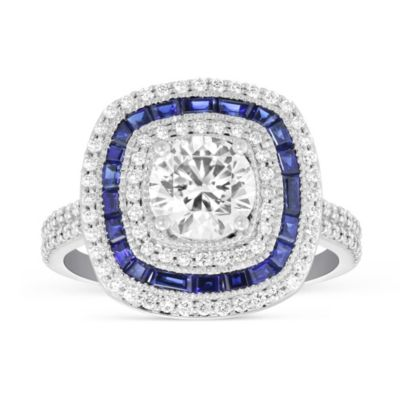 Peter Storm 18K White Gold Round Diamond Caliber Cut Sapphire Ring Mounting with Double Row Shank