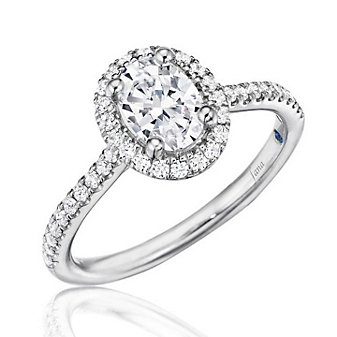 14K White Gold Diamond Shank and Oval Halo Ring Mounting