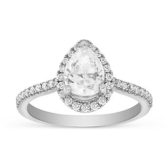 14K White Gold Pear Shaped Halo Diamond Ring Mounting