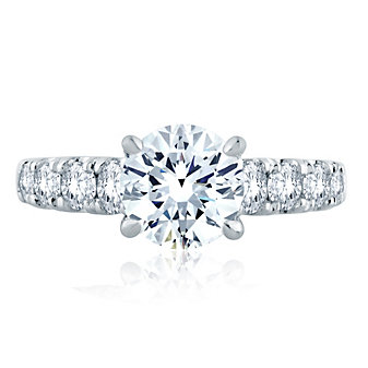 A. Jaffe 14K White Gold Diamond Ring Mounting, 1.06aptw