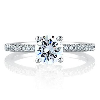 A. Jaffe 14K White Gold Diamond Shank Ring Mounting