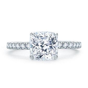 A. Jaffe 14K White Gold Diamond Shank Ring Mounting, 0.46aptw