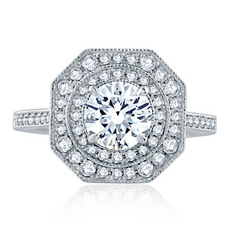 A. Jaffe 14K White Gold Diamond Ring Mounting with Milgrain Edge and Octagonal and Round Double Halo
