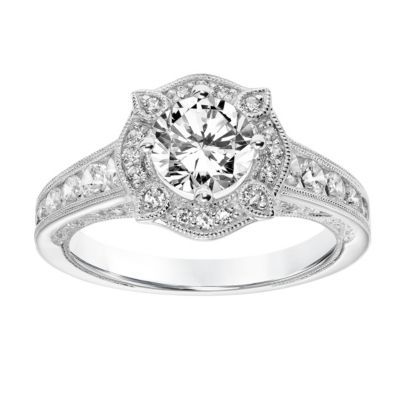 ArtCarved 14K White Gold Ring Mounting with Diamond Milgrain Halo and Shank