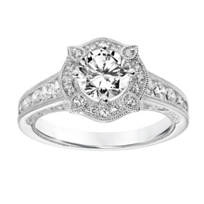 ArtCarved_14K_White_Gold_Ring_Mounting_with_Diamond_Milgrain_Halo_and_Shank