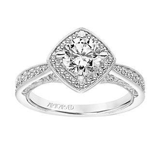 ArtCarved 14K White Gold Ring Mounting with Diamond Square Halo and Shank