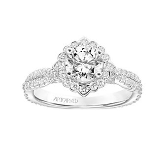 ArtCarved 14K White Gold Ring Mounting with Diamond Halo and Twisted Shank