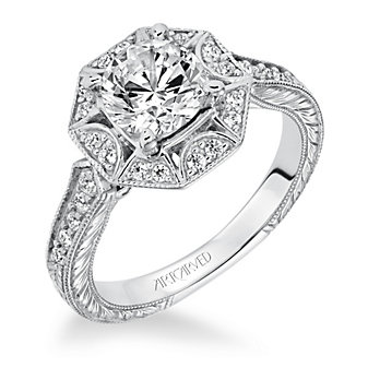 ArtCarved 14K White Gold Ring Mounting with Diamond Octagon Halo and Shank
