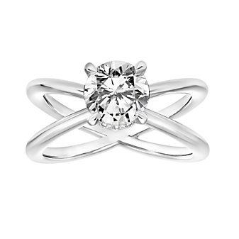14k white gold diamond solitaire ring setting with diamond collar