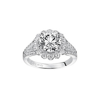 artcarved 14k white gold irina diamond halo split diamond shank ring setting