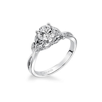 artcarved 14k white gold floral twist diamond ring setting