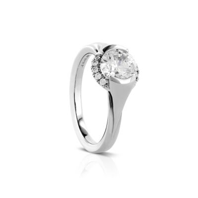 14k white gold diamond half bezel halo Rainier ring mounting