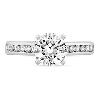 a. jaffe 14k white gold diamond channel set shank ring mounting, 0.49aptw