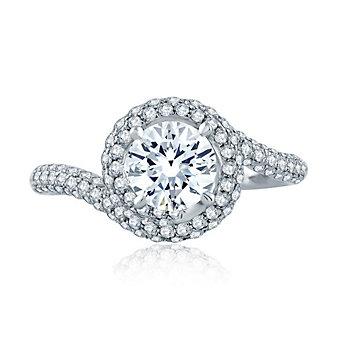 a. jaffe 14k white gold diamond swirl frame & shank ring mounting