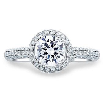 a. jaffe 14k white gold diamond halo & pave shank ring mounting