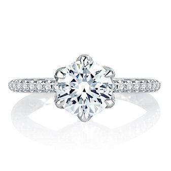 a. jaffe 14k white gold diamond shank & basket ring mounting, 0.33aptw