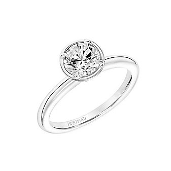 artcarved 14k white gold bezel & prong set ring mounting with diamond gallery halo