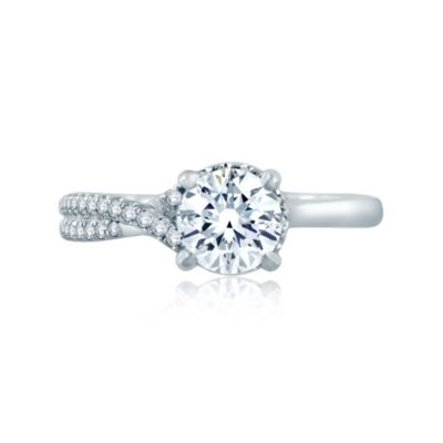 a. jaffe 14k white gold diamond crisscrossed semi pave engagement ring, 0.16cttw