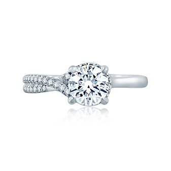a. jaffe 14k white gold diamond crisscrossed semi pave engagement ring, 0.16cttw
