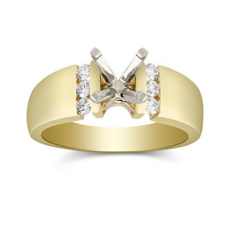 14K Yellow Gold Single Vertical Channel Round Diamond Ring Mounting