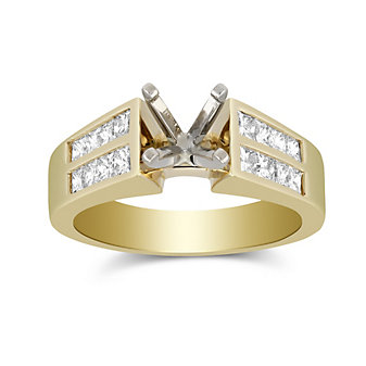 14K Yellow Gold Double Channel Set Princess Cut Diamond Cathedral Style Ring Mounting
