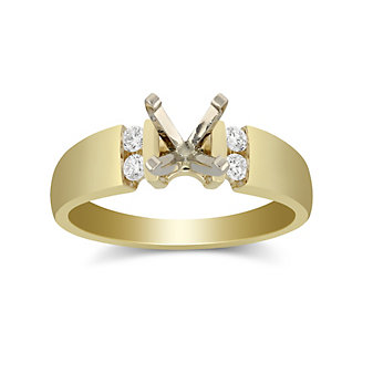 14K Yellow Gold Petite Vertical Channel Set Round Diamond Ring Mounting
