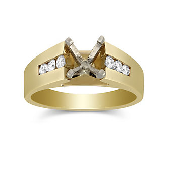 14K Yellow Gold Channel Set Round Diamond Cathedral Style Ring Mounting