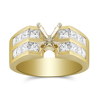 14K Yellow Gold Double Channel Set Princess Cut Diamond Ring Mounting