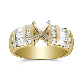 14K Yellow Gold Vertical Channel Set Round and Baguette Damond Ring Mounting