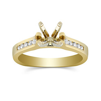 14K Yellow Gold Petite Channel Set Round Diamond Ring Mounting