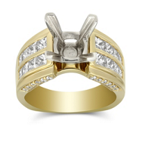 14K_Yellow_Gold_Channel_Set_Princess_Cut_Two_Row_Diamond_Ring_Mounting_