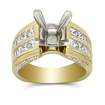 14K Yellow Gold Channel Set Princess Cut Two Row Diamond Ring Mounting
