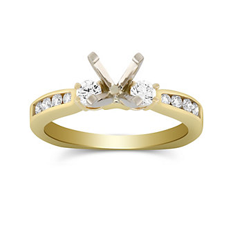 14K White Gold Prong and Channel Set Round Diamond Ring Mounting