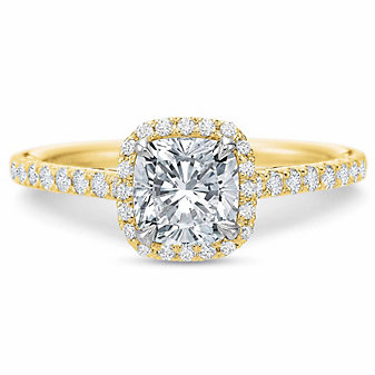 Precision Set 18K Yellow Gold New Aire Halo Ring Setting
