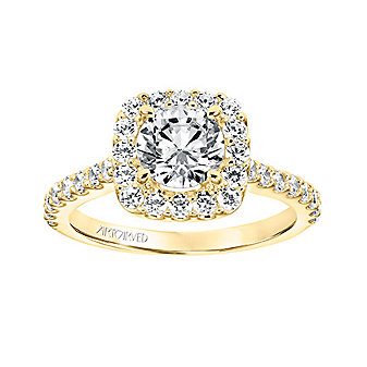 ArtCarved 14K Yellow Gold Round Diamond Halo Lenore Ring Mounting