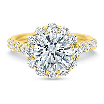 Precision Set 18K Yellow Gold Diamond Halo Ring Mounting