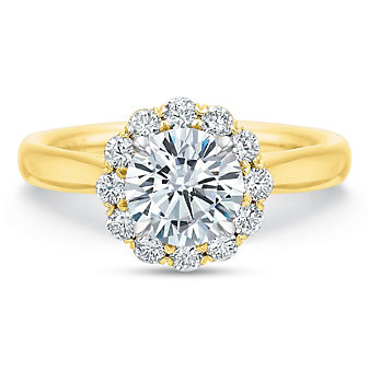 Precision Set 18K Yellow Gold Diamond Halo Ring Mounting, 0.36cttw