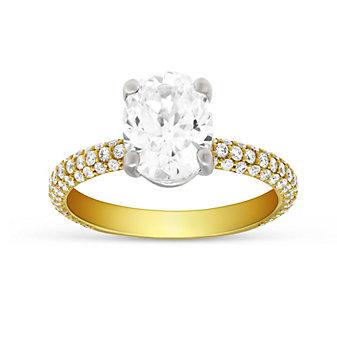 Precision Set 18K Yellow Gold Three Row Diamond Ring Mounting