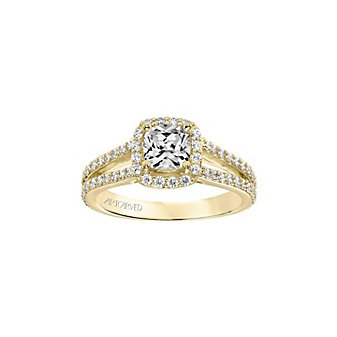 artcarved 14k yellow gold classic diamond halo split shank ring setting