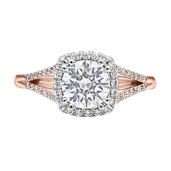 14K Rose and White Gold Halo Diamond Ring Mounting, 0.17cttw