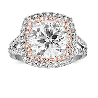 Precision Set Platinum and 18K Rose Gold Double Halo Ring Mounting