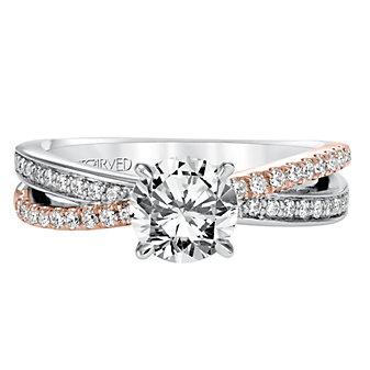 ArtCarved 14K White & Rose Gold Mimi Diamond Engagement Ring Setting